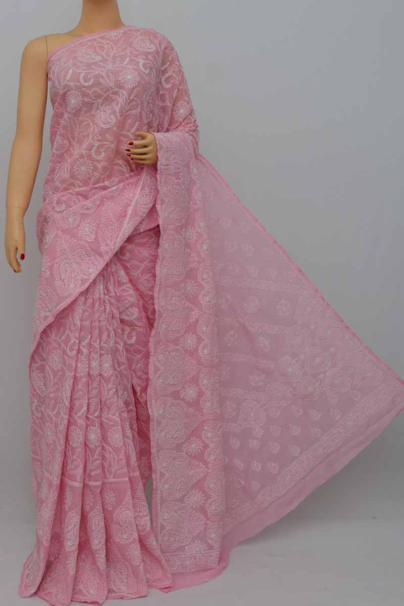 Babypink Color Hand Embroidered Allover Lucknowi Chikankari Saree (With Blouse - Cotton) HS250428
