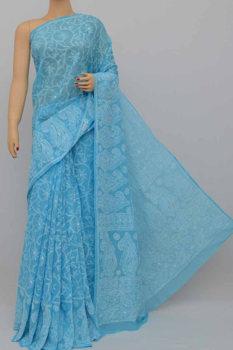 Blue Color Hand Embroidered Allover Lucknowi Chikankari Saree (With Blouse - Cotton) HS250429