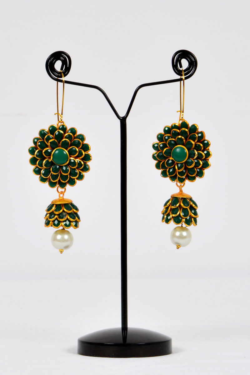Dark Green Color, Sunflower Patter Polkhi, Elegant Drop Earrings With Gold Plated Beautifully Highlighted Petals - Mcj250118