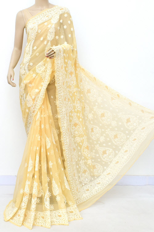 BurlyWood Hand Embroidered Lucknowi Chikankari Saree (Georgette-With Blouse) 17313
