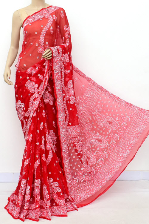 Red Hand Embroidered Lucknowi Chikankari Saree (Georgette-With Blouse) 17315