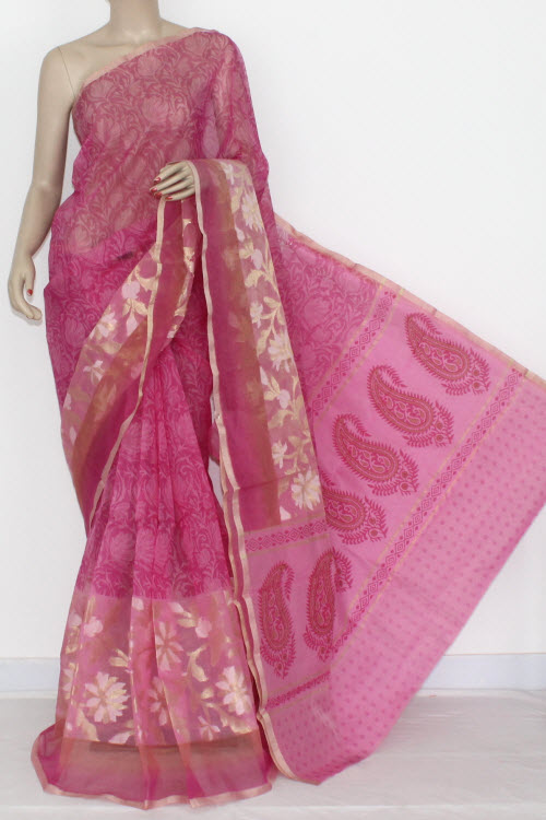 Pink Banarasi Kora Cot-Silk Printed Handloom Saree (With Blouse) 16118