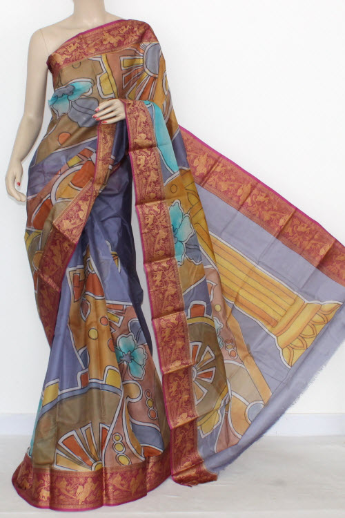 Blue Designer Hand-Printed Bishnupuri Pure Silk Saree (With Blouse) Baluchari Border 16148