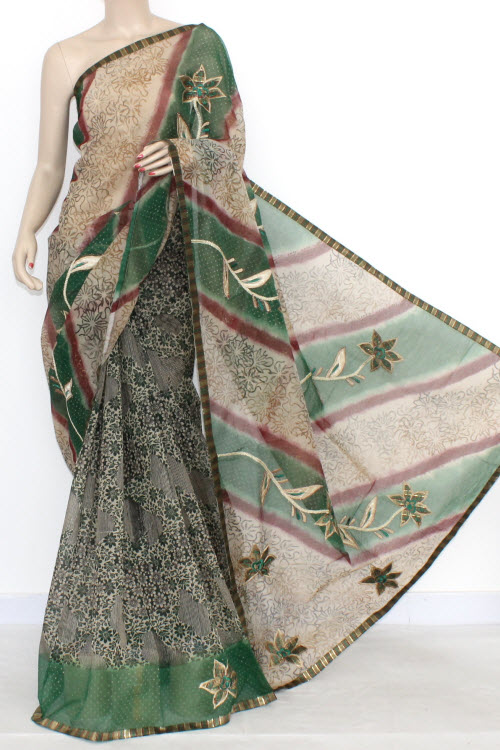 Fawn Green Designer Supernet Embroidered Saree (With Blouse) 16154