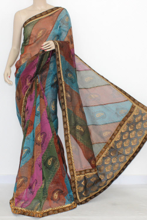 Multi-Color Designer Supernet Embroidered Saree (With Blouse) 16155