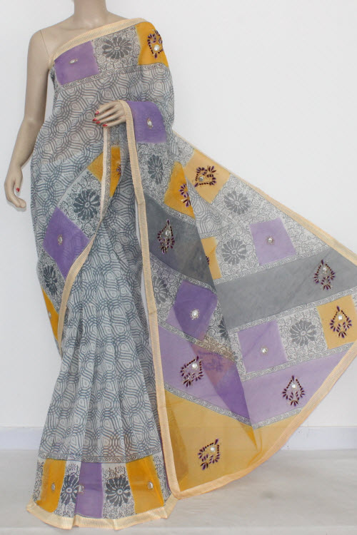 Grey Yellow Designer Supernet Embroidered Saree (With Blouse) 16156