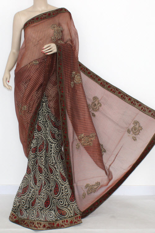 Rust Black Designer Supernet Embroidered Saree (With Blouse) Halh-Half 16157