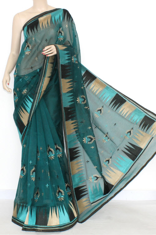 Peacock Blue Designer Supernet Embroidered Saree (With Blouse) Temple Border 16158