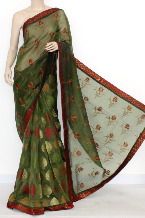 Bottle Green Designer Supernet Embroidered Saree (With Blouse) Half-Half 16162