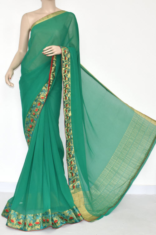 Green Handloom Semi-Chiffon Saree (with Blouse) Embroidery on Zari Border 16180