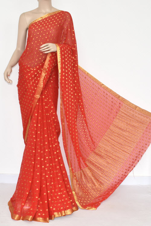Red Handloom Semi-Chiffon Saree (with Blouse) Allover Zari Border & Booti 16201
