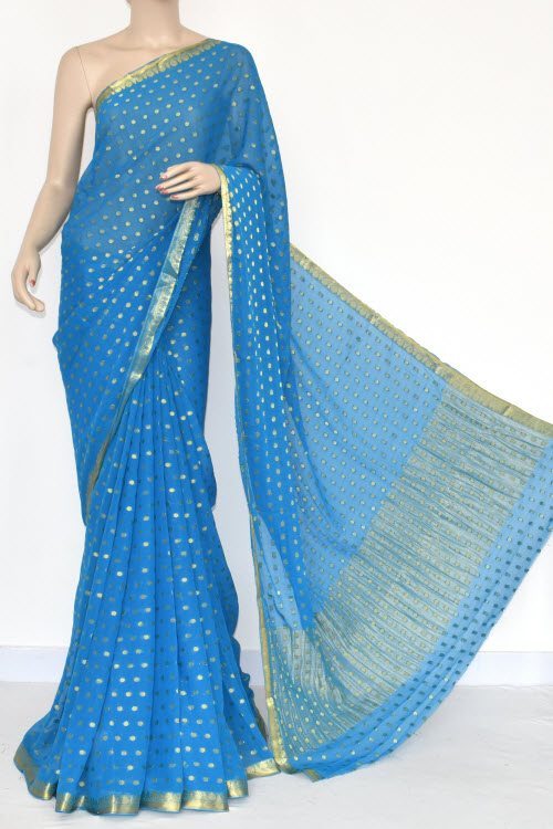 Pherozi Blue Handloom Semi-Chiffon Saree (with Blouse) Allover Zari Border & Booti 16207