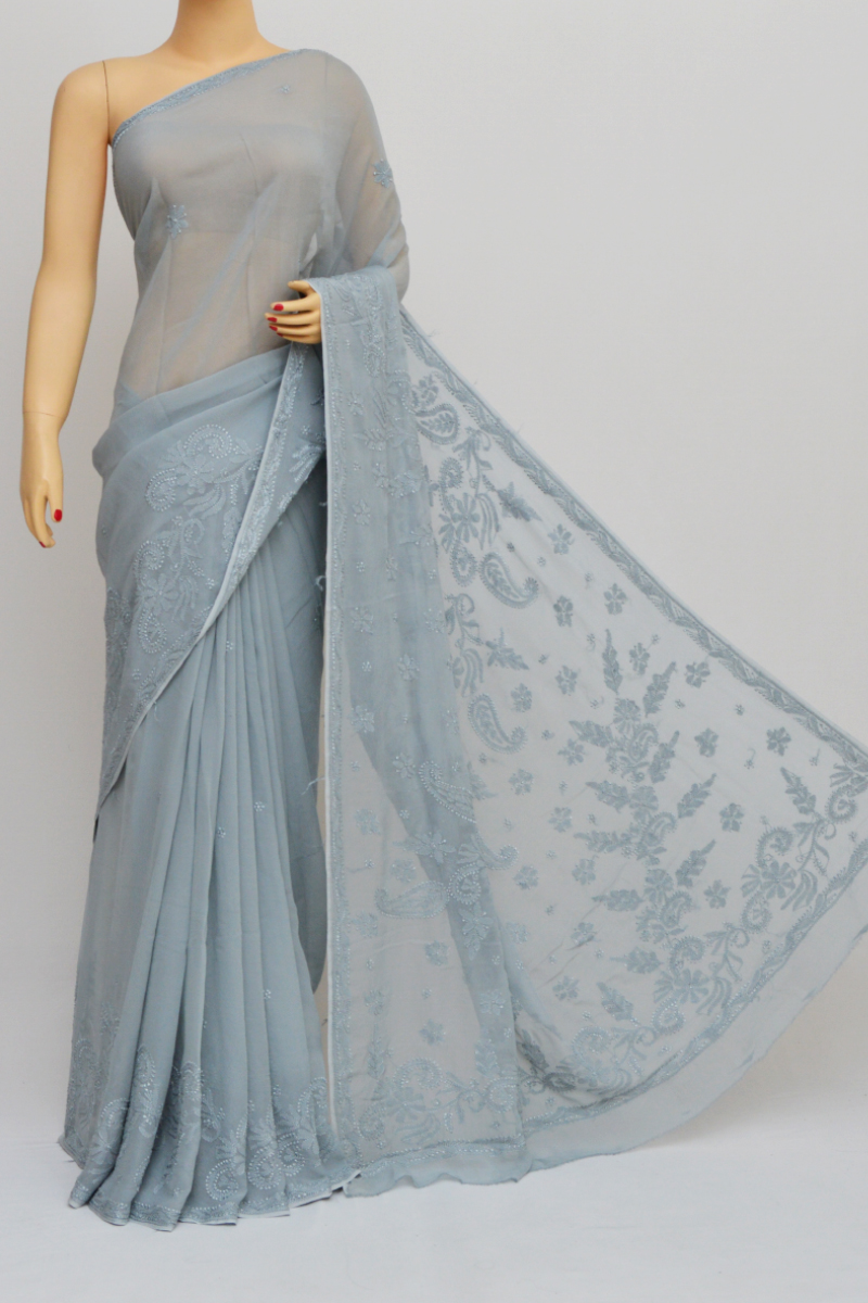 Grey Colour Hand Embroidered Viscose Georgette Lucknow Chikankari Saree (with blouse)KC250563