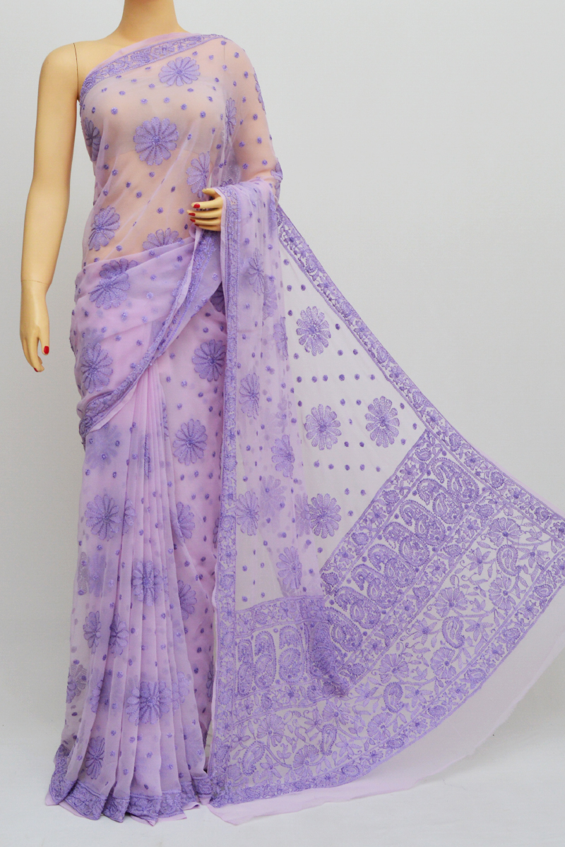 Lavender Colour Hand Embroidered Viscose Georgette Lucknow Chikankari Saree (with blouse)GA250564
