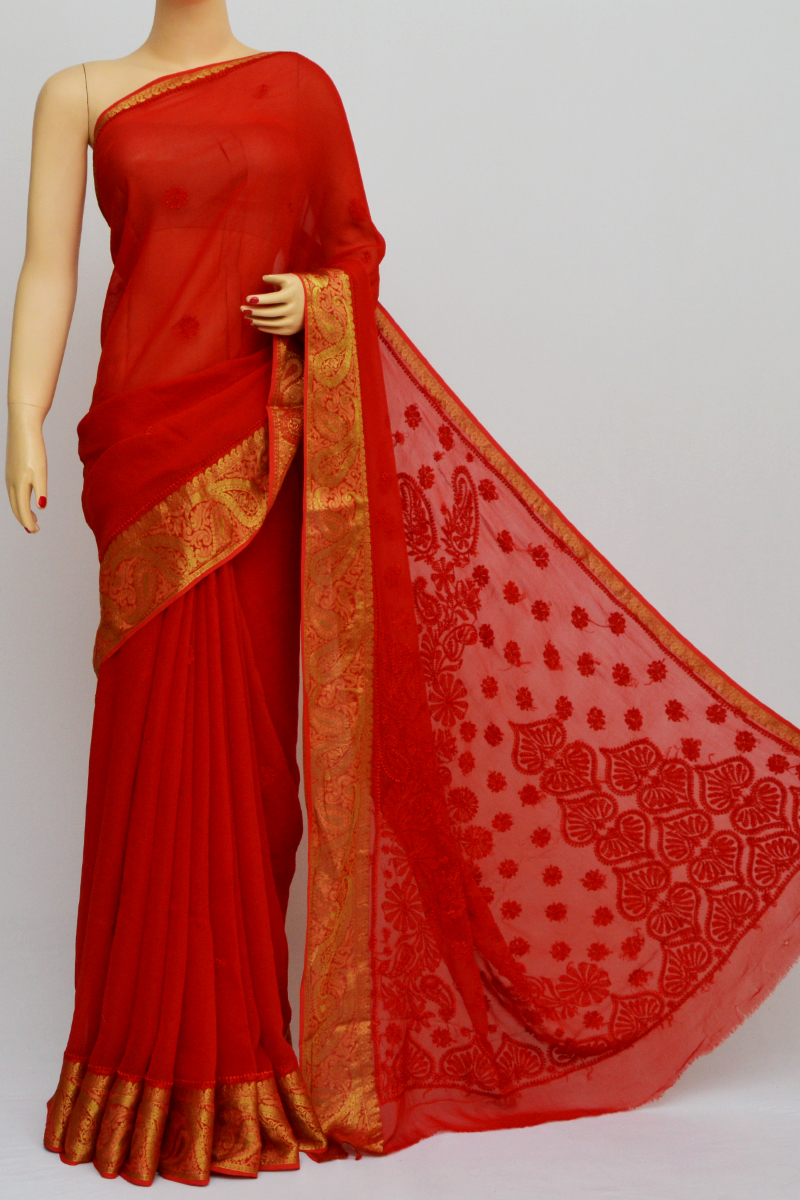 Red Colour Hand Embroidered Viscose Georgette Lucknow Chikankari Saree (with Blouse)kc250566