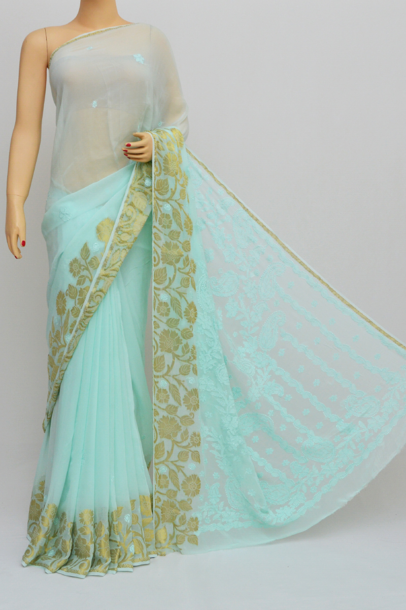 Seagreen Colour Hand Embroidered Viscose Georgette Lucknow Chikankari Saree (with blouse)GA250567