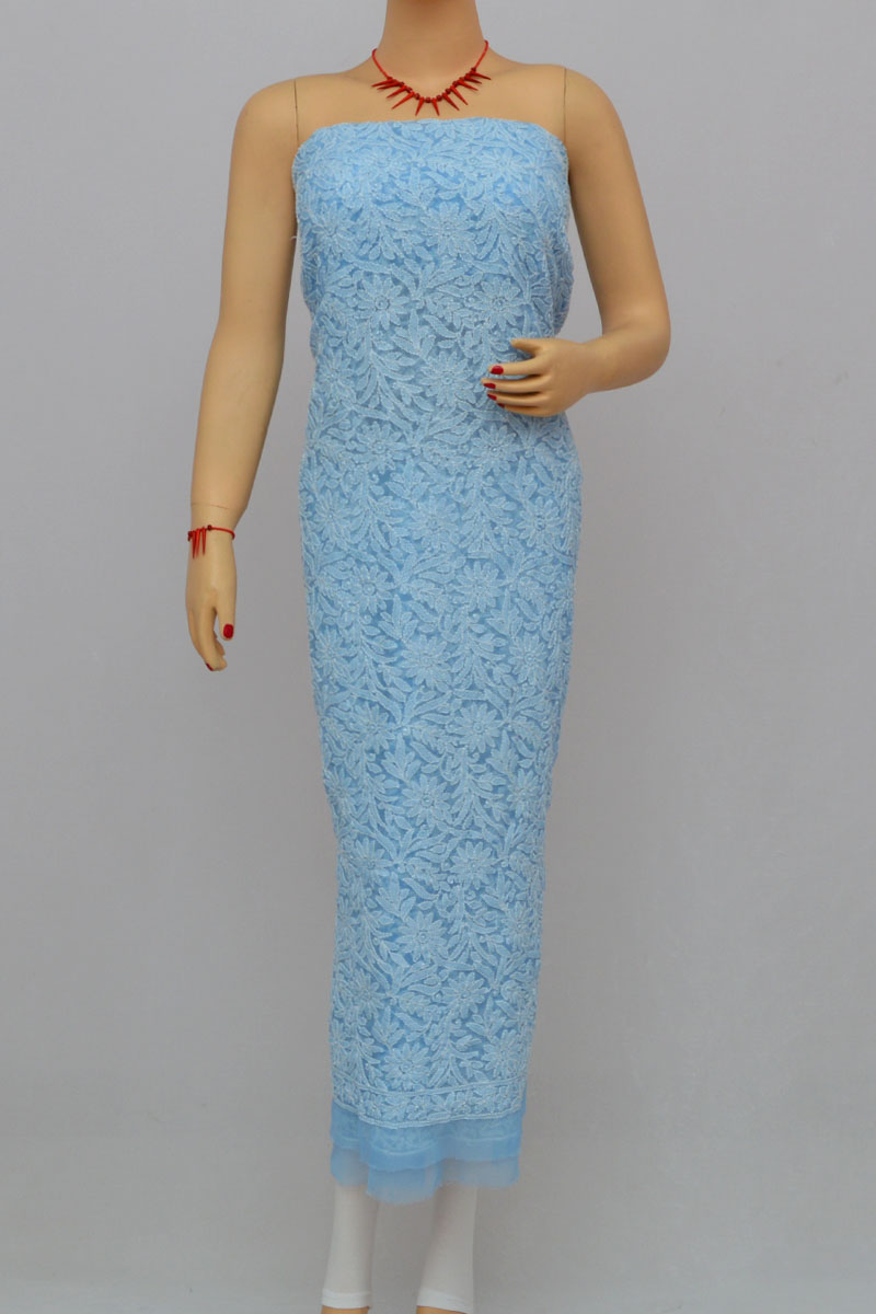 Light Blue Allover Hand Embroidered Lucknowi Chikankari Kurti (Georgette) HS250282