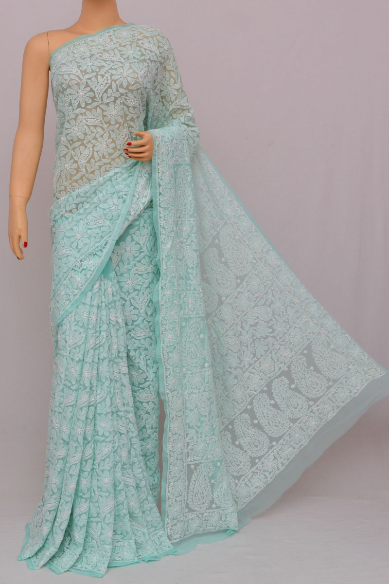 Sea Green Color Allover Jaal Heavy Palla Hand Embroidered Lucknowi Chikankari Saree (with Blouse - Georgette) Ss250278