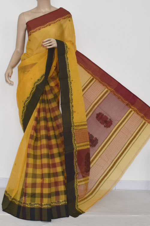 Yellow Handwoven Bengali Tant Cotton Saree (Without Blouse) Patli Pallu Ganga-Yamuna Border 17037