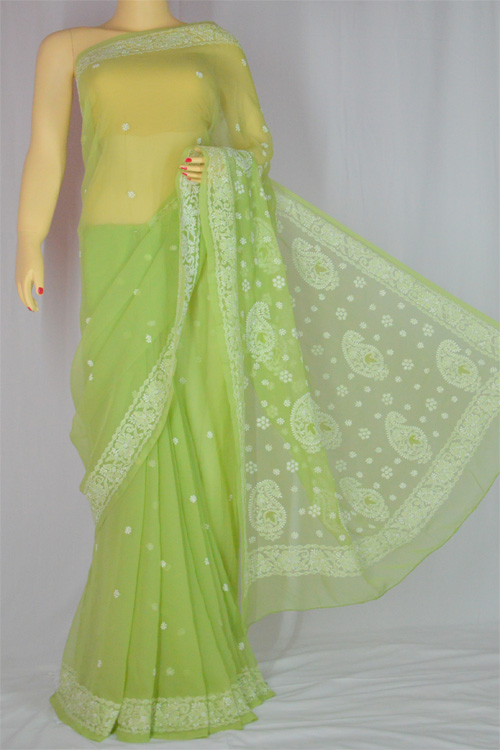 green Hand Embroidered Work Lucknowi Chikankari Saree (With Blouse - Georgette)- MC60016