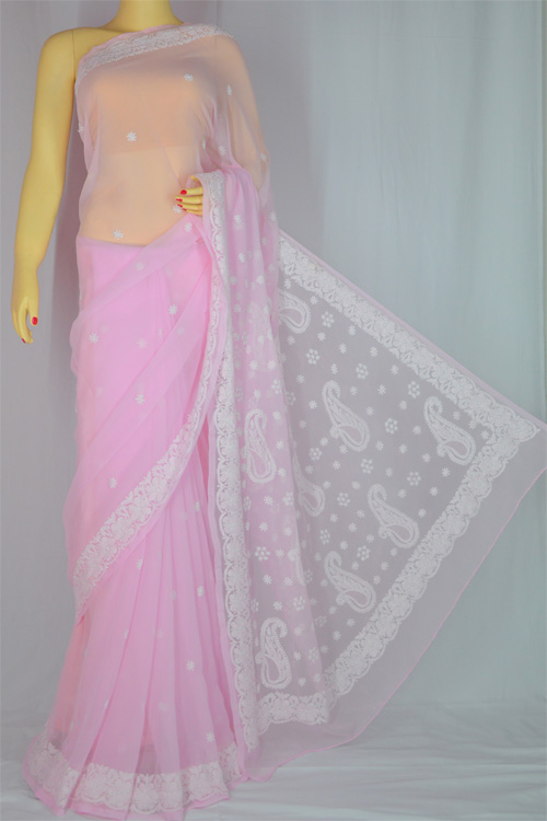 Pink Hand Embroidered Work Lucknowi Chikankari Saree (With Blouse - Georgette)- MC60017