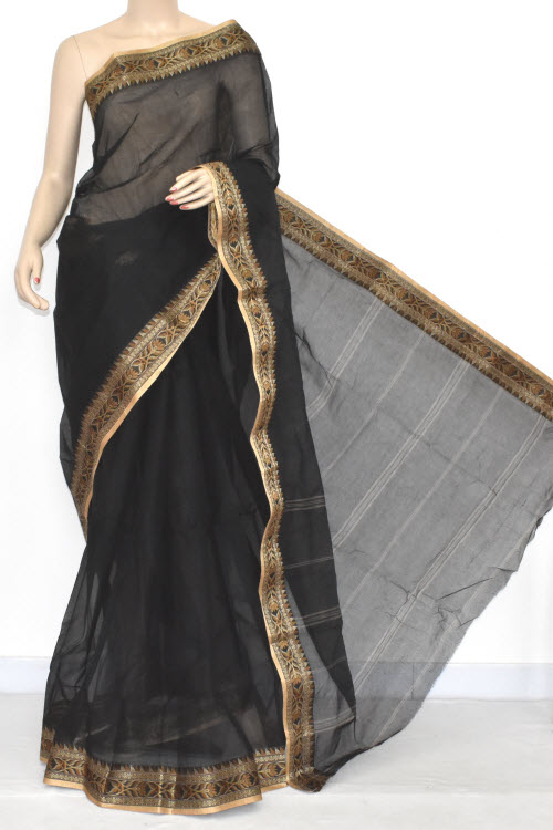 Black Handwoven Bengali Tant Cotton Saree (Without Blouse) 17052