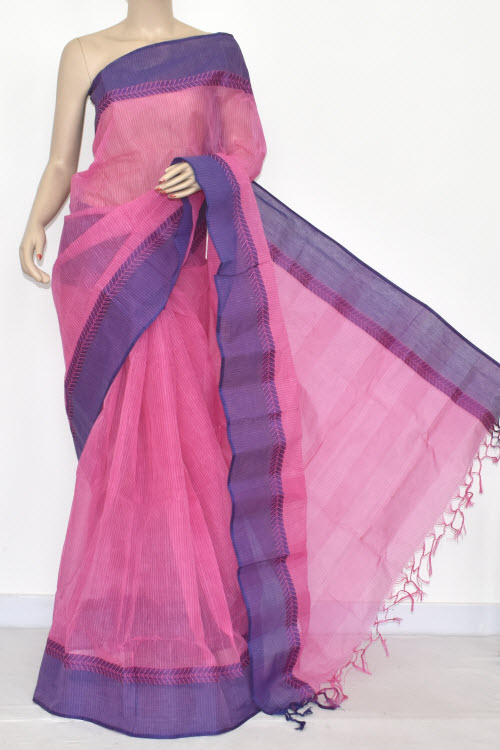 Pink Handwoven Bengali Tant Cotton Saree (Without Blouse) 17054