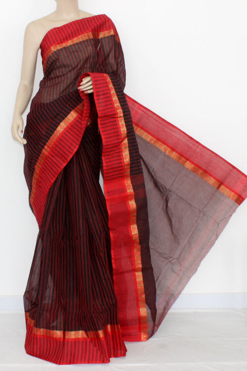 Black Red Handwoven Bengal Tant Cotton Saree (Without Blouse) 17061