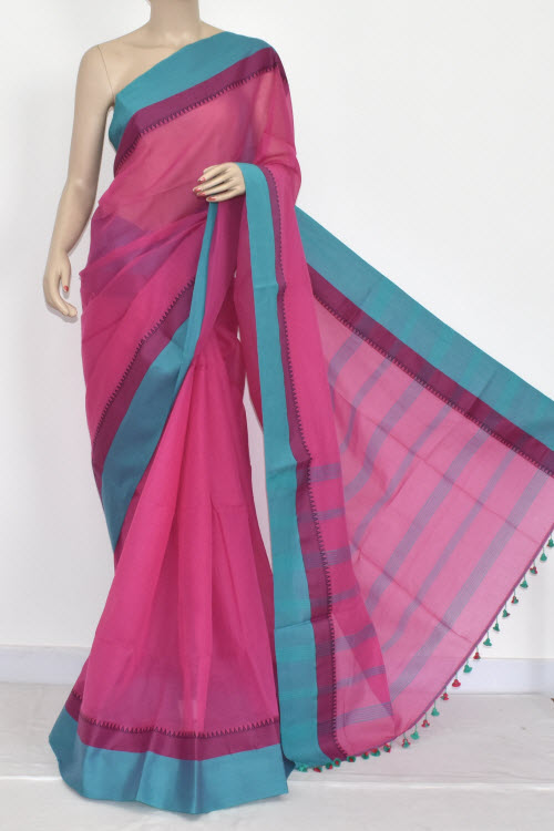 Pink - Pherozi Handwoven Bengali Tant Soft Cotton Saree (Without Blouse) 17066