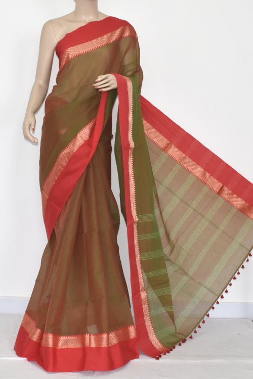 Menhdi Green - Red Handwoven Bengali Tant Soft Cotton Saree (Without Blouse) 17067