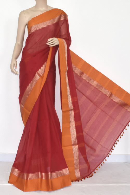 Red - Mustared Handwoven Bengali Tant Soft Cotton Saree (Without Blouse) 17068