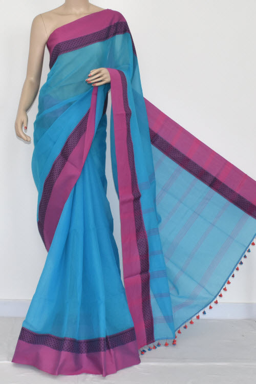 Pherozi - Pink Handwoven Bengali Tant Soft Cotton Saree (Without Blouse) 17069