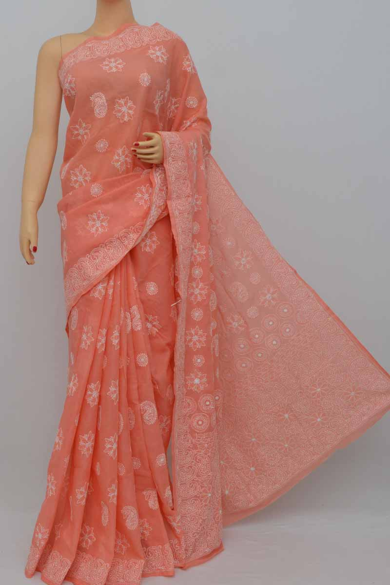 Peachorange Color Hand Embroidered Cotton Lucknowi Chikankari Saree (with Blouse - Cotton) Kc250434