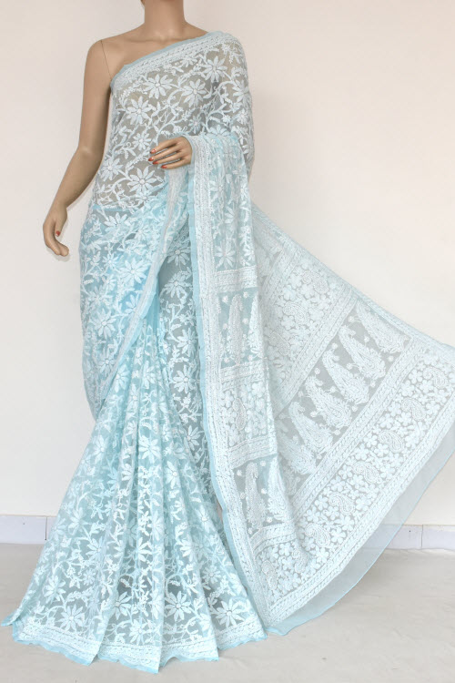 Lightskyblue Hand Embroidered Lucknowi Chikankari Saree (Georgette-With Blouse) 14839