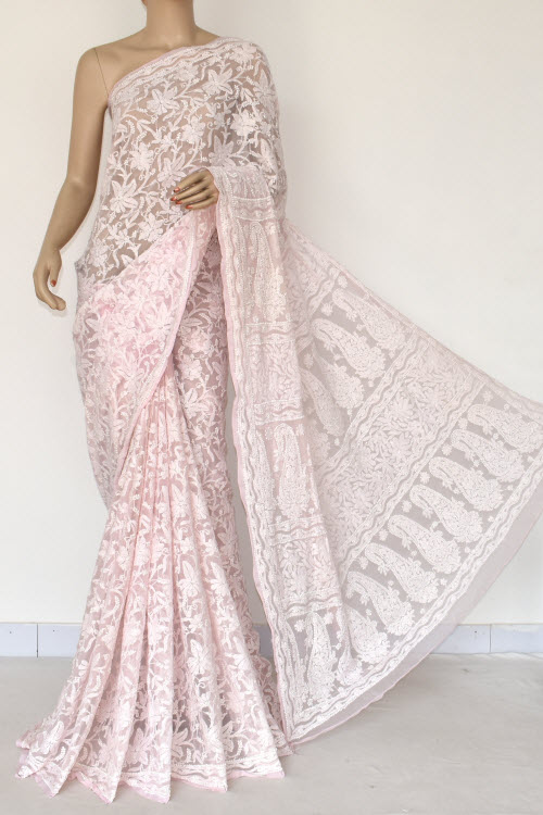 Lightpink Hand Embroidered Lucknowi Chikankari Saree (Georgette-With Blouse) 14843