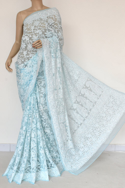 Lightskyblue Hand Embroidered Lucknowi Chikankari Saree (georgette-with Blouse) 14846
