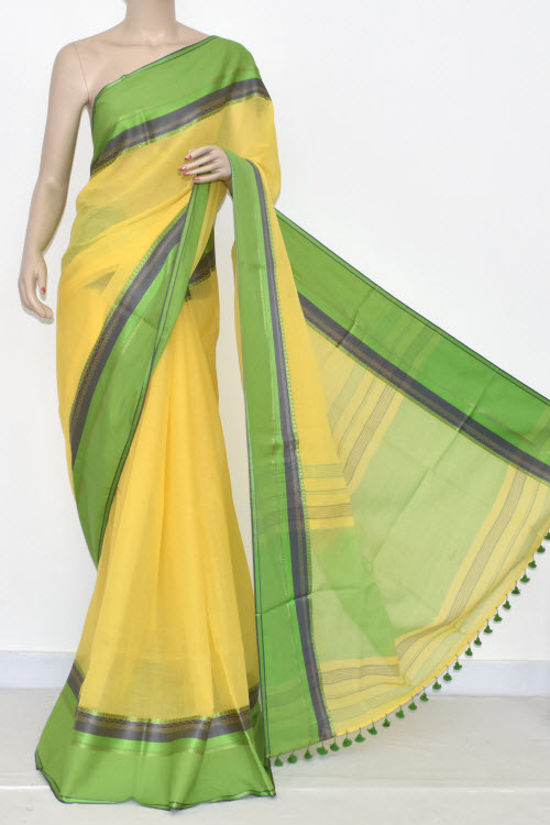 Yellow - Parrot Green Handwoven Bengali Tant Soft Cotton Saree (Without Blouse) 17076