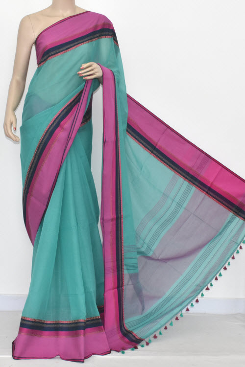 Sea Green - Pink Handwoven Bengali Tant Soft Cotton Saree (Without Blouse) 17077
