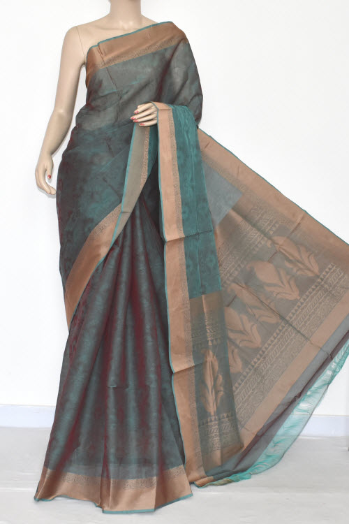 Sea Green Dhoop-Chhaon South Cotton Handloom Saree (With Blouse) 17079