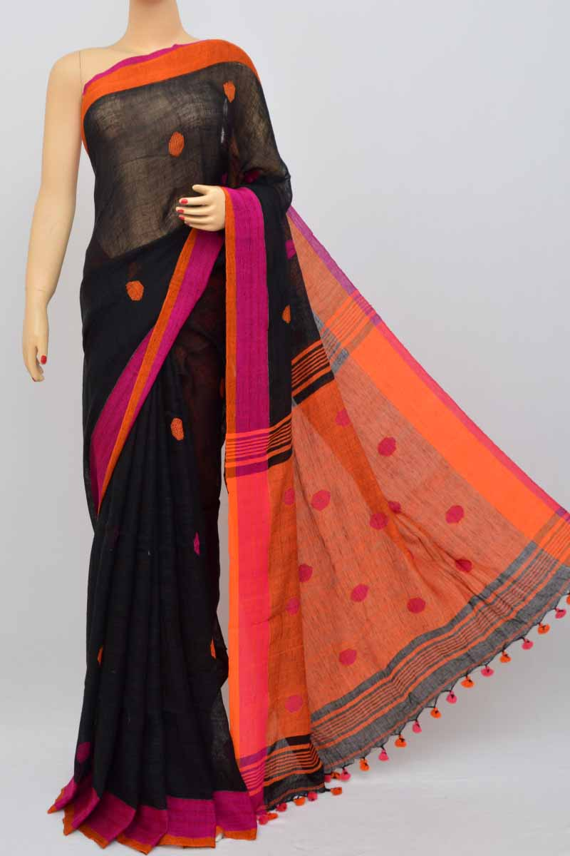 Black Color Handwoven Textured Traditional Saree(With Blouse) SM250467