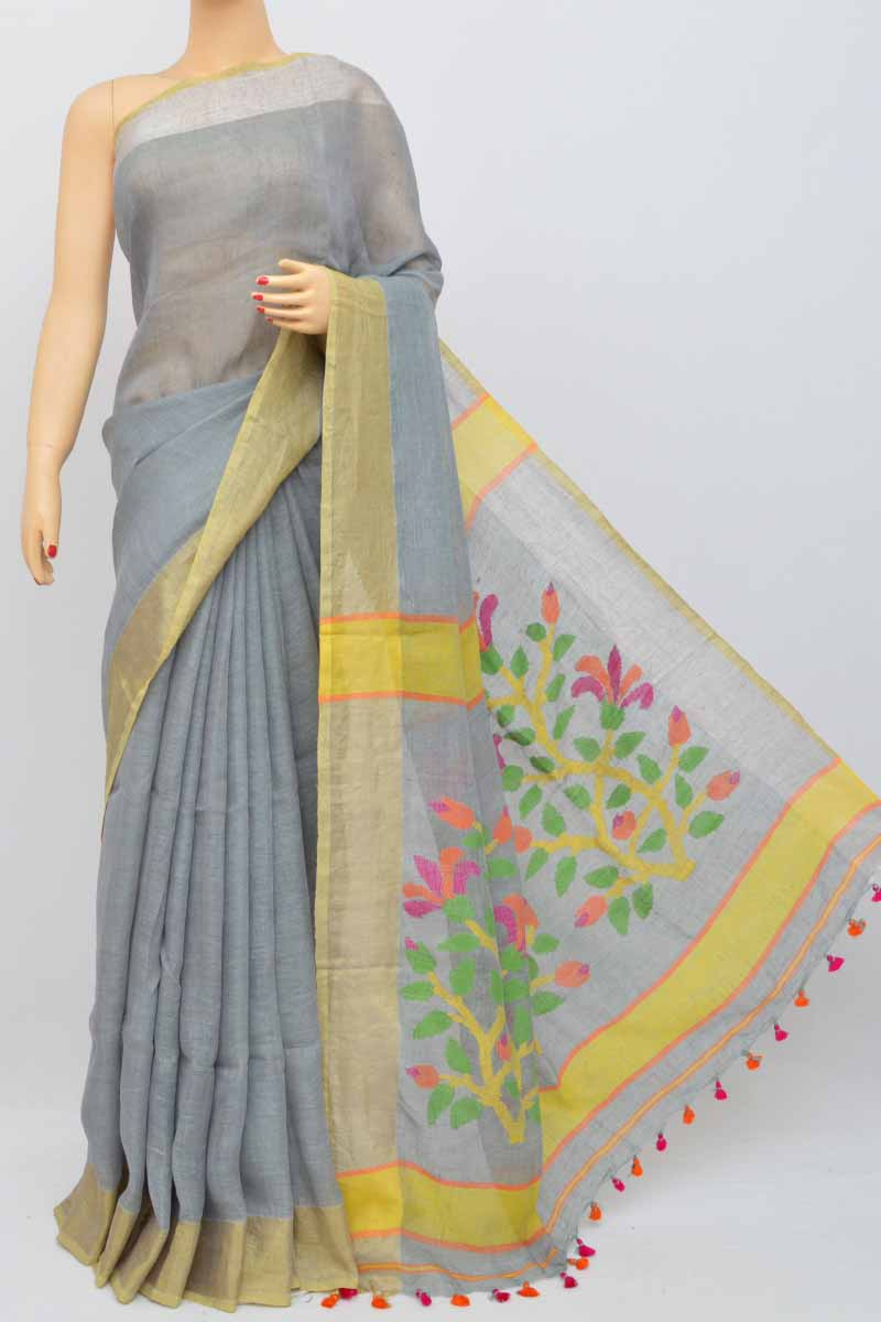 Grey Color Handwoven Textured Traditional Jamdani Saree (With Blouse) - KC250461