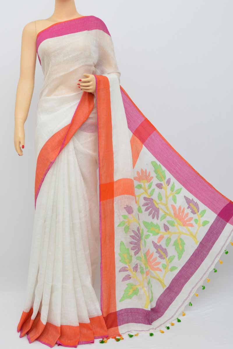 White Color Handwoven Textured Traditional Jamdani Saree (with Blouse)my250463