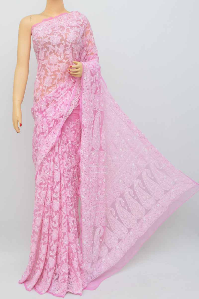Onion Color Allover Jaal Heavy Palla Hand Embroidered Lucknowi Chikankari Saree (with Blouse - Georgette) Kc250465