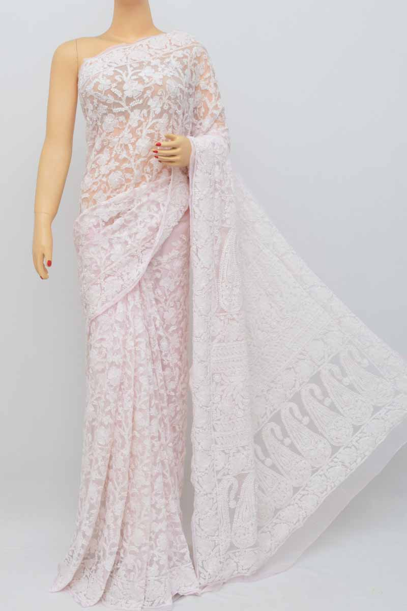 75f5da1d74 Baby Pink Colour Allover Heavy Palla Hand Embroidered Lucknowi Chikankari  Saree (With Blouse - Georgette