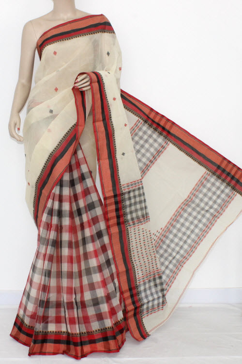 Off White Handwoven Bengal Partywear Tant Cotton Saree (Without Blouse) Patli Pallu 17089