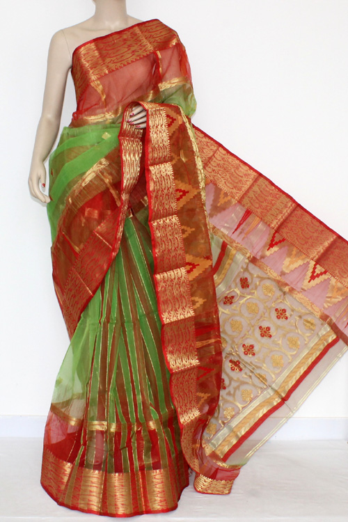 Green Red Handwoven Bengal Tant Kora Cotton Jamdani Saree (Without Blouse) 17092