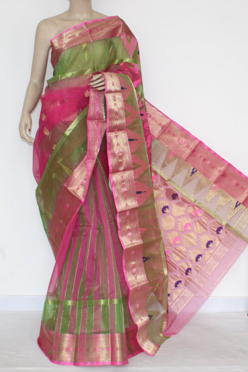 Pink Parrot Green Handwoven Bengal Tant Kora Cotton Jamdani Saree (Without Blouse) 17093