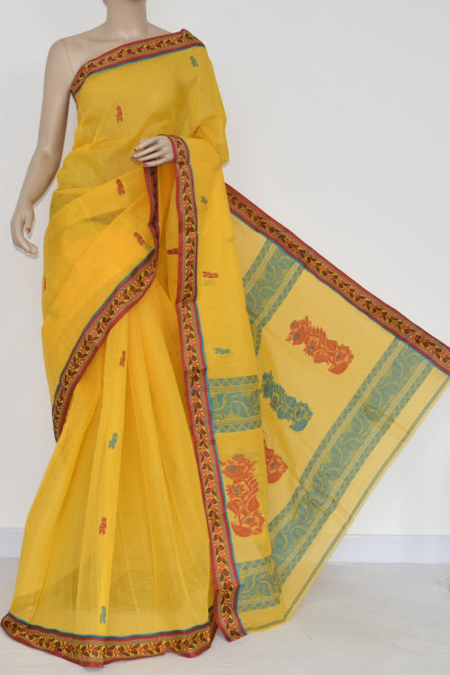 Yellow Handwoven Bengal Tant Cotton Saree (Without Blouse) 17096