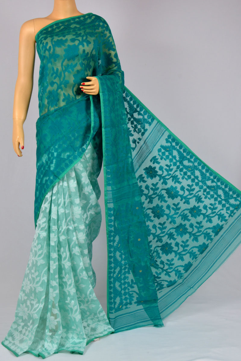 Sea Green Color Dhakai Jamdani Moslin Silk Bangladeshi  Saree (Without Blouse) - MC250123