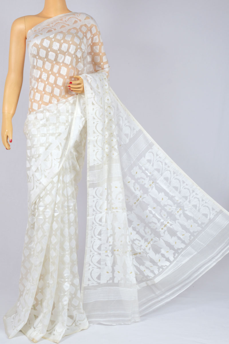 Off White Color Soft Dhakai Jamdani Handwoven Bengal Handloom Kora Cotton Tant Saree (Without Blouse) - MC250124